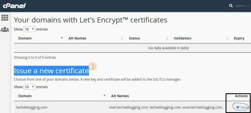 Issue Free SSL Certificate In ChemiCloud cPanel