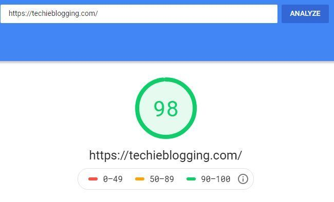 Google Page Speed Score After Website Speed Optimization