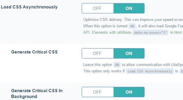 Load CSS File Asynchronously Lite Speed Cache Plugin