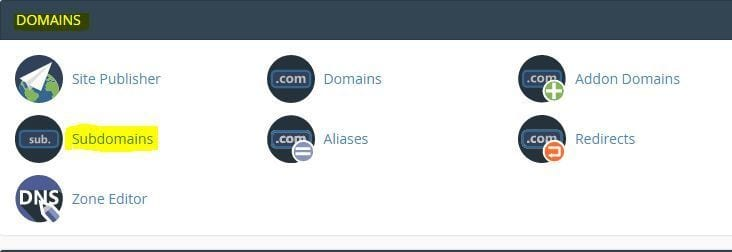 Click On Domain To Create a Subdomain
