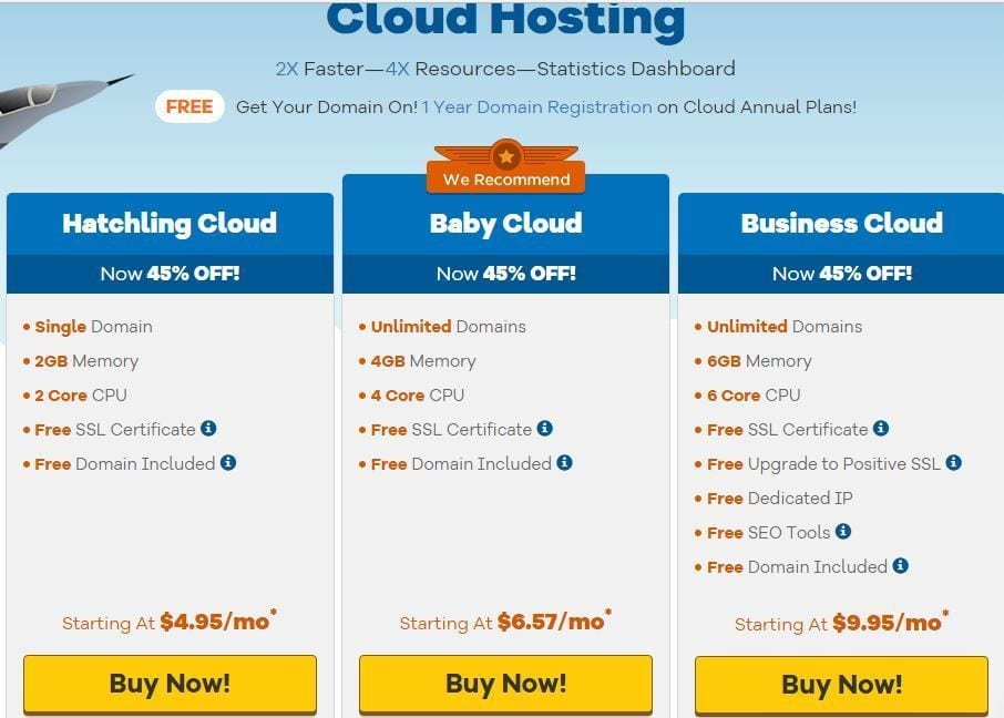 Hostgator Cheap Cloud Web Hosting Plans