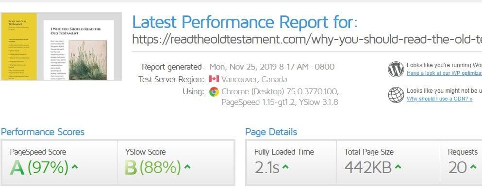 TMDHosting Review Page Loading Speed On GTMetrix