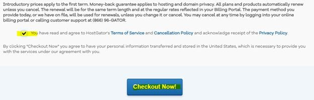 Terms and Condition Privacy Policy Of HostGator