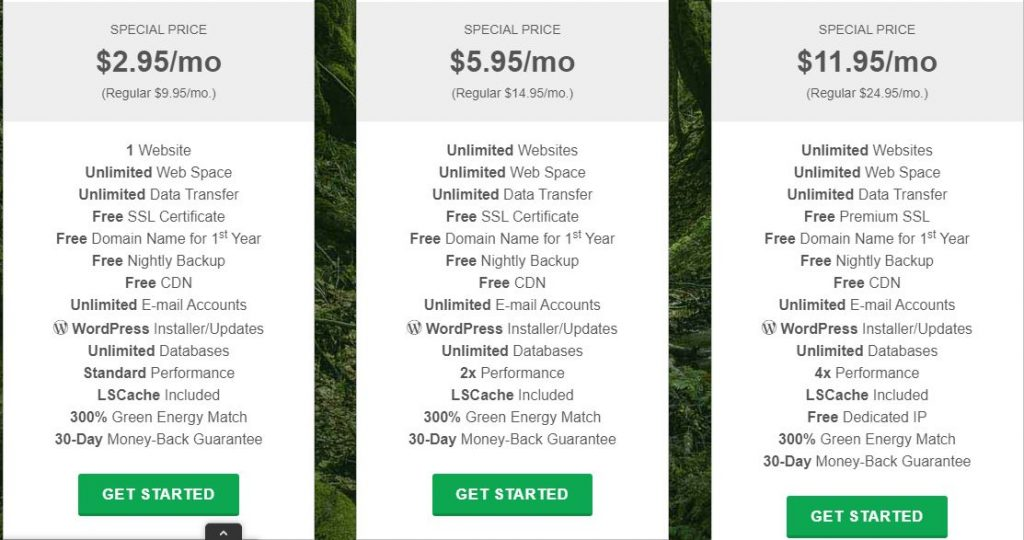 GreenGeeks vs DreamHost Price Comparision