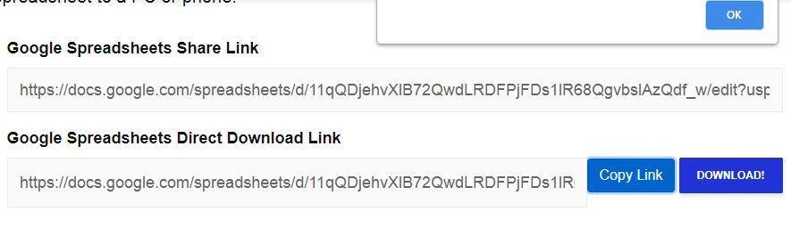 Create Google Spreadsheet Direct Download Link