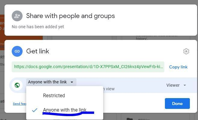 Provide everyone read permission to Google slides